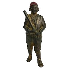 AC Williams Antique Cast Iron Still BASEBALL PLAYER Bronze & Red Cap Bank