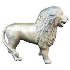 HUBLEY Vintage Cast Iron Gold LION Animal Figural Still Bank
