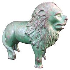 HUBLEY Vintage Cast Iron Green LION Animal Figural Still Bank