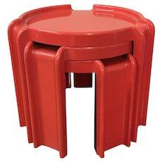 ITALIAN Giotto Stoppino for KARTELL 4905 3pc Modern Art RED Nesting Table Set