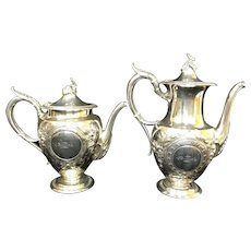 Rare Mark COIN SILVER Gorham Teapot & Coffee Pot Set JW TUCKER San Francisco Cal c.1860