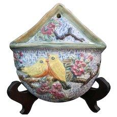 WELLER Ware Vintage 1920's GLENDALE Yellow Birds Pink Blossoms Wall Pocket Vase