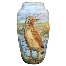 """WELLER Ware Vintage GLENDALE Bird on River Bank 6"""" Ovoid Vase No Flaws"""