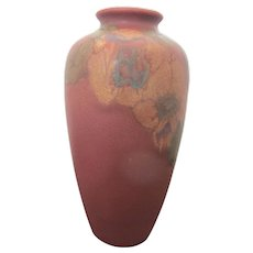 Vintage 1925 ROOKWOOD Lorinda Epply Wax Matte Red Flowering Branches Vase 614-F