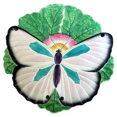 MINTON Turquoise Brightly Painted BUTTERFLY on Leaf Majolica Plate
