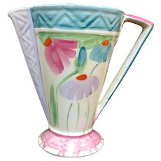 "MYOTT & Sons England Colorful ART DECO Floral Pitcher 7 3/4"" Geometric Vase 8954"