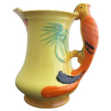 BURLEIGH Ware Vintage Art Deco Orange PARROT Parakeet Bird Butterfly Pitcher Jug