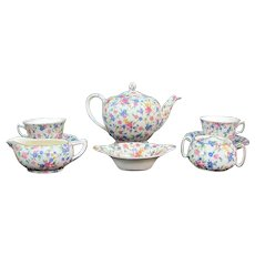 ROYAL WINTON Old Cottage Chintz Tea for 2 Cream Sugar Pot Waste Cup Saucer Set