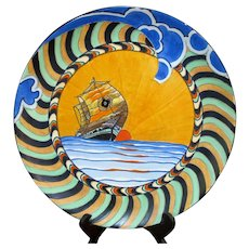 Wood & Sons Large MAJOLICA Decorative Colorful Sailing Ship Boat SUNSET Plate