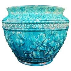 BURMANTOFTS Faience Large TURQUOISE Floral Majolica Jardiniere Pot Vase 1661