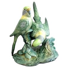 STANGL Double Hand Painted Green & Blue Parakeet BIRDS Pottery Figurine 3582