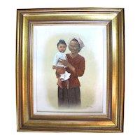 Original Oregon Artist Verne TOSSEY Framed MOTHER & CHILD Oil Painting on Board