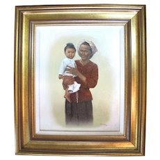 Original Oregon Artist Verne TOSSEY Framed MOTHER & CHILD Oil Painting on Board
