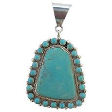 NELSON BURBANK Sterling Silver Turquoise Large Navajo Necklace Pendant