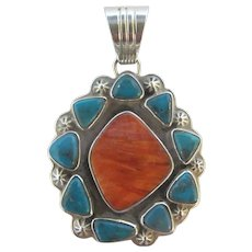 STERLING Silver TURQUOISE & Coral Native American STARBURST Necklace Pendant