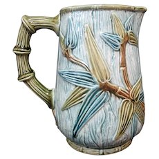 Antique Turquoise Green BAMBOO Leaves MAJOLICA Pitcher Jug Vase