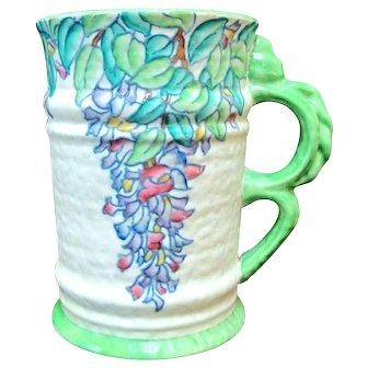 "CROWN DUCAL Signed Rhead ART DECO Colorful Leaves 7.5"" Pitcher Jug Vase"