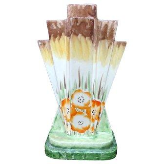 MYOTT & Sons England Colorful ART DECO Orange Flower PYRAMID 5 Finger Vase 8669
