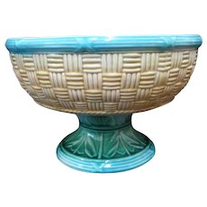 Antique MAJOLICA Colorful Green Leaves BASKET WEAVE Design Pedestal Bowl