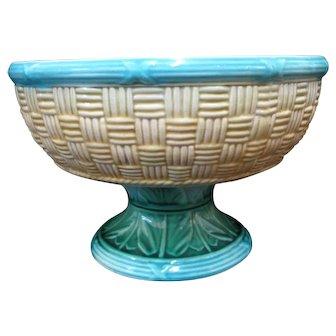 Antique MAJOLICA Colorful Green Leaves BASKET WEAVE Design Pedestal Bowl