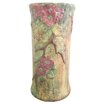 """Vintage WELLER Woodcraft APPLE Pink BLOSSOM Tree Branch 10 1/2"""" Planter Vase"""