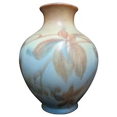 Vintage ROOKWOOD c1936 Margaret McDonald Wax Matte Gold Blue LEAVES Vase 2918-B