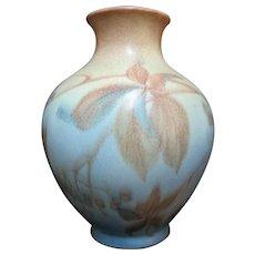Vintage ROOKWOOD c1936 Margaret McDonald Wax Matte Gold Blue LEAVES Vase 2918-B