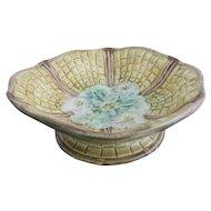 Antique Floral Majolica Compote Pedestal Bowl Basket