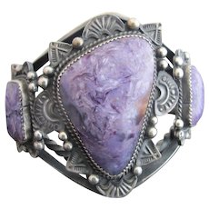 Vintage GILBERT TOM Sterling Silver Purple CHAROITE Hand Crafted Native American Bracelet
