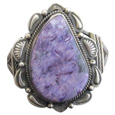 Vintage Gilbert Tom STERLING Silver Native American Paisley CHAROITE Cuff Bracelet