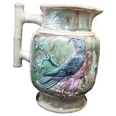 """Large Antique MAJOLICA Red Breasted BLACK BIRD Pitcher Jug Vase 9 1/2"""""""