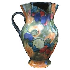 Large Hand Painted England Stoke on Trent FX Abraham Art Deco FRUITS Pitcher Jug