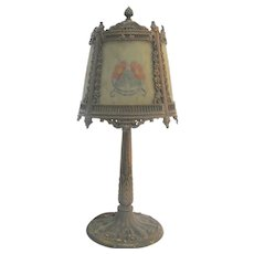 ART NOUVEAU Reverse Hand Painted Glass Shade MILLER 967 Ornate Metal Table Lamp