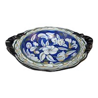 Cobalt Blue Antique ROYAL CAULDON Floral ART DECO Basket Compote Bowl w/Handles