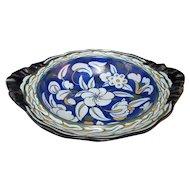 Cobalt Blue Antique ROYAL CAULDON Floral ART DECO Basket Compote Bowl w/Handles