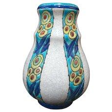 Vintage BOCH FRERES La Louviere Belgium Charles Catteau Blue ART DECO Vase 947