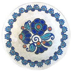 Vintage BOCH FRERES Majolica Charles Catteau Blue ART DECO Wall Plate Bowl 949