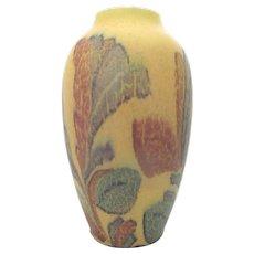 ROOKWOOD Wilhelmina Rehm Vintage 1930 Golden Leaf Foliage Wax Matte Vase 900-C