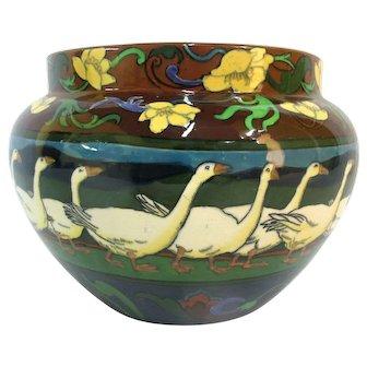 WILEMAN Shelley Foley INTARSIO Frederick Rhead GEESE Jardiniere Pot Vase 3145