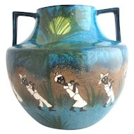 Antique FOLEY Robinson Son HAITIAN DANCERS Harjian Black Folk Art Vase 253600