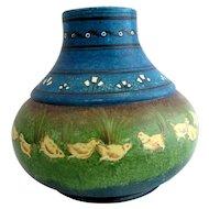 Vintage FOLEY E Brain Running Farm CHICKENS Peeps Tulips Harjian Pottery Vase