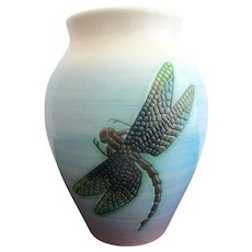 """Dennis China Works Sally TUFFIN Turquoise Purple DRAGONFLY Insects 5 1/2"""" Vase"""