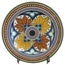 "Zuid Holland GOUDA Bright Color FLORAL 11 1/2"" Majolica DESIRE ROYAL Plate"