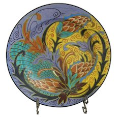 "Art Nouveau Zuid Holland GOUDA Bright Colors PINE & LEAVES 12"" TAYLOR Plate"
