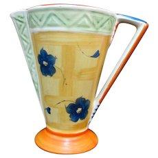 "MYOTT & Sons England Colorful ART DECO Floral Pitcher 7"" Geometric Vase 8497"
