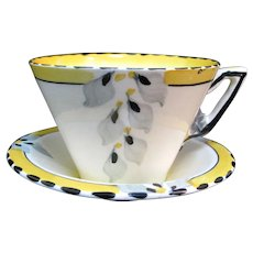 BURLEIGH Ware B&L Vintage ART DECO Sunny Yellow Leaf Zenith Tea Cup & Saucer