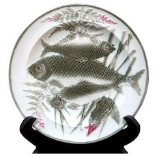 "WEDGWOOD Olive Green & Pink 3 Fish & Fern 8.5"" Plate 2605"