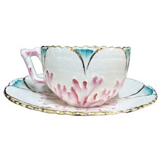 ETRUSCAN Majolica Pink Turquoise Gold Gilt SHELL Seaweed Design Cup & Saucer