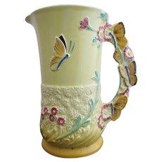 BURLEIGH Ware Vintage Art Deco BUTTERFLY Flower Garden Pitcher Jug Vase