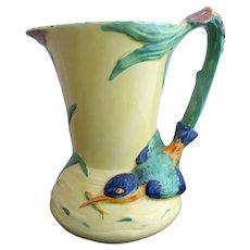 BURLEIGH Ware Vintage Art Deco KING FISHER Bird Floral Pitcher Jug Vase 4896